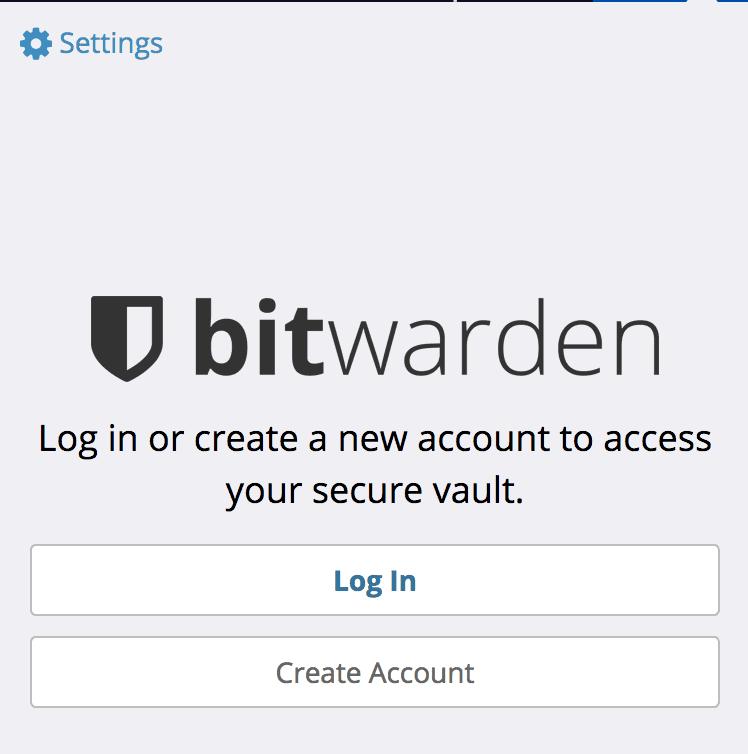 Bitwarden Firefox 扩展的登录界面