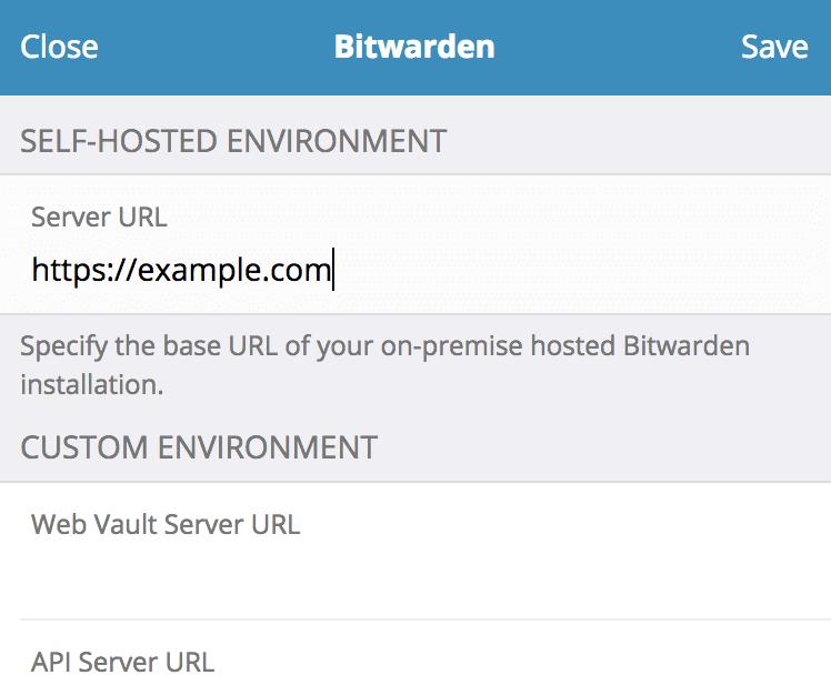 Bitwarden Firefox 扩展的登录前设置界面