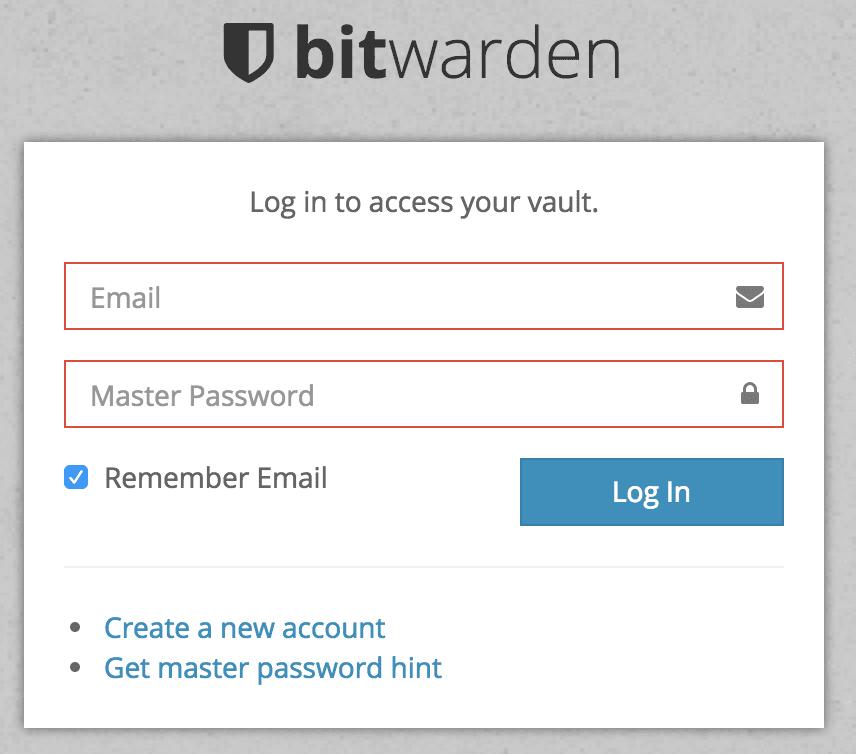 Bitwarden web vault 登录页面